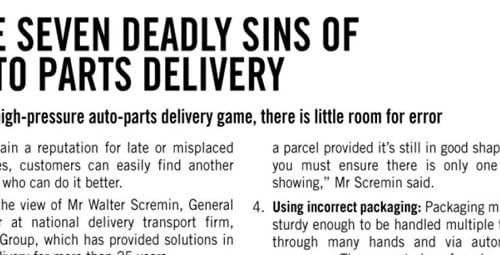 The seven deadly sins of auto parts delivery