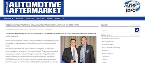Ontime named Dulux Group Freight Supplier of the Year