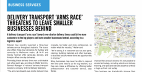 Delivery transport 'arms race' threatens to leave small businesses behind