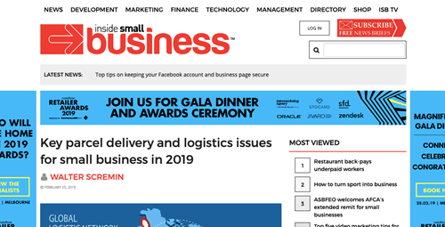 Key parcel delivery and logistics issues for small business in 2019